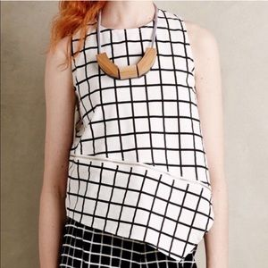 Anthropologie Maeve Windowpane Grid Tank Top